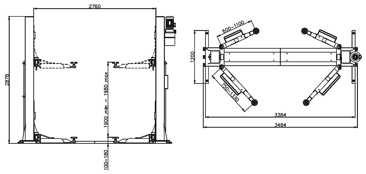 Схема двухстоечного подъемника Werther 204I/B 3SF