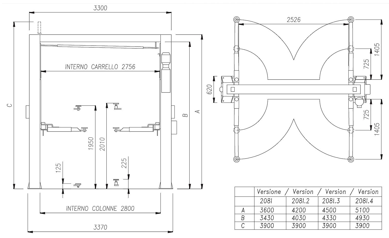 Схема двухстоечного подъемника Werther 208I/A (OMA 513BS)