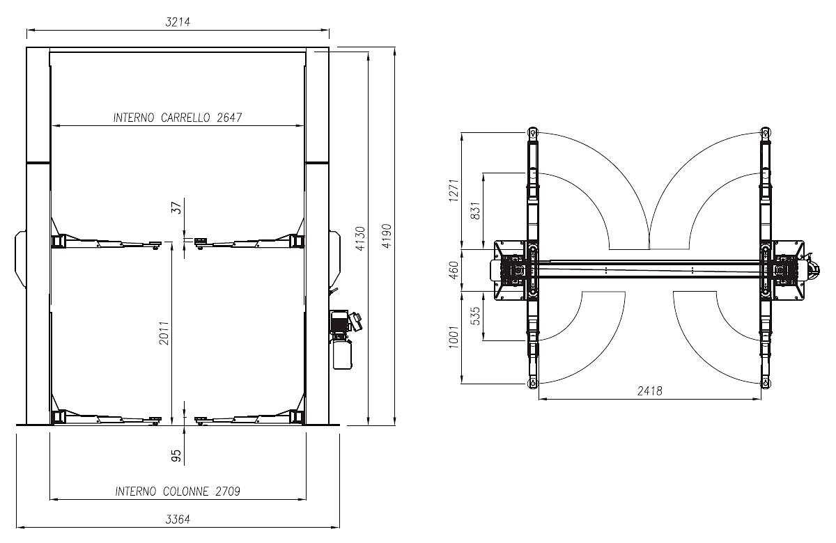 Схема двухстоечного подъемника Werther 210I/32