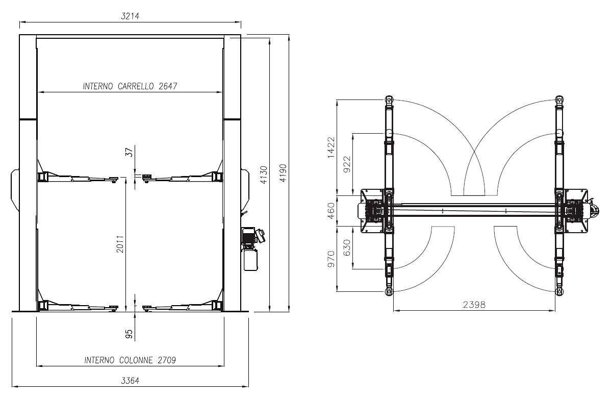 Схема двухстоечного подъемника Werther 210I/42