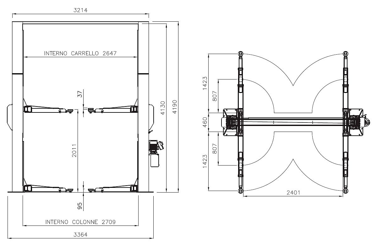 Схема двухстоечного подъемника Werther 210I/42SM