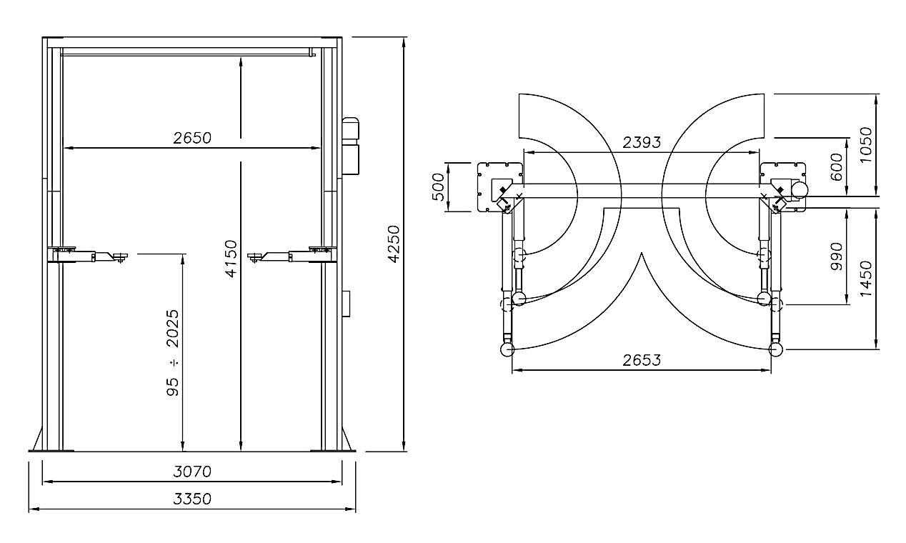 Схема (чертеж) двухстоечного подъемника Werther 232I.2 (OMA 518.2)