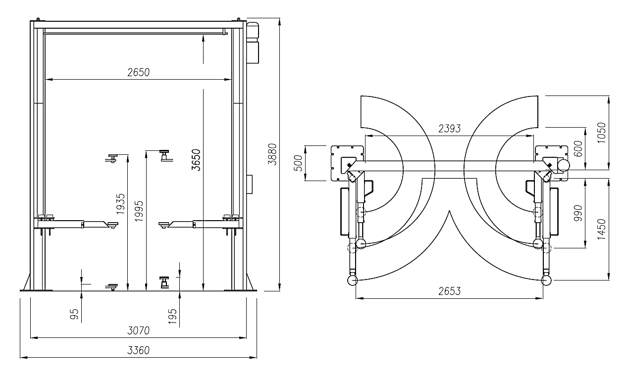 Схема (чертеж) двухстоечного подъемника Werther 232I (OMA 518)
