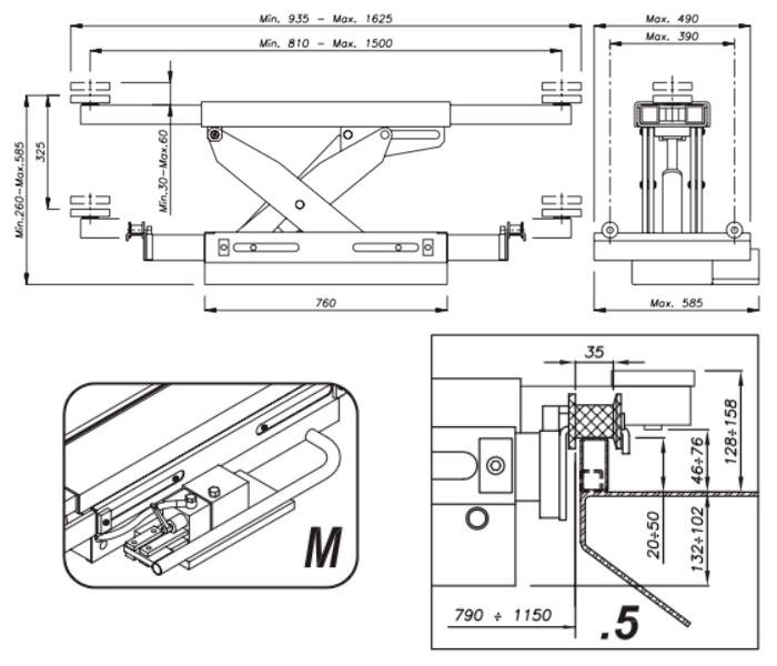 Схема гидравлической траверсы Werther 404M.5 (OMA 543.05)
