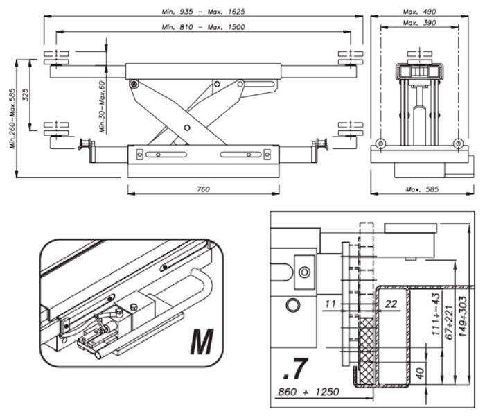 Схема гидравлической траверсы Werther 404M.7 (OMA 543.07)