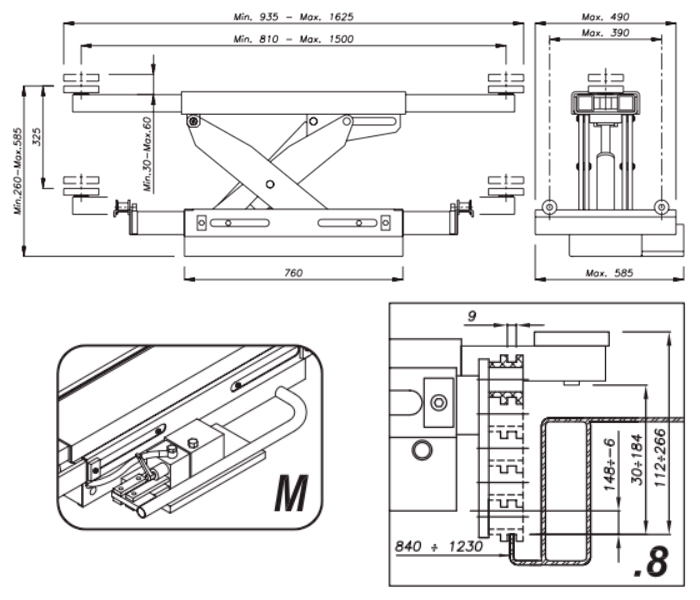 Схема гидравлической траверсы Werther 404M.8 (OMA 543.08)
