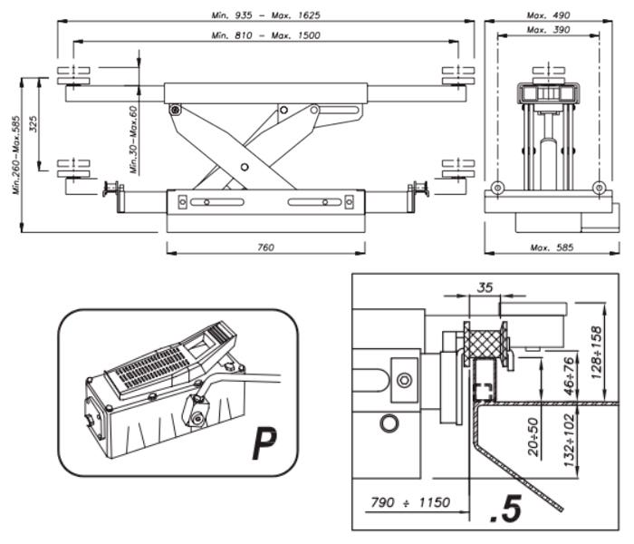 Схема гидравлической траверсы Werther 404P.5 (OMA 543A.05)