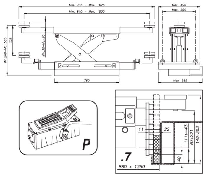Схема гидравлической траверсы Werther 404P.7 (OMA 543A.07)