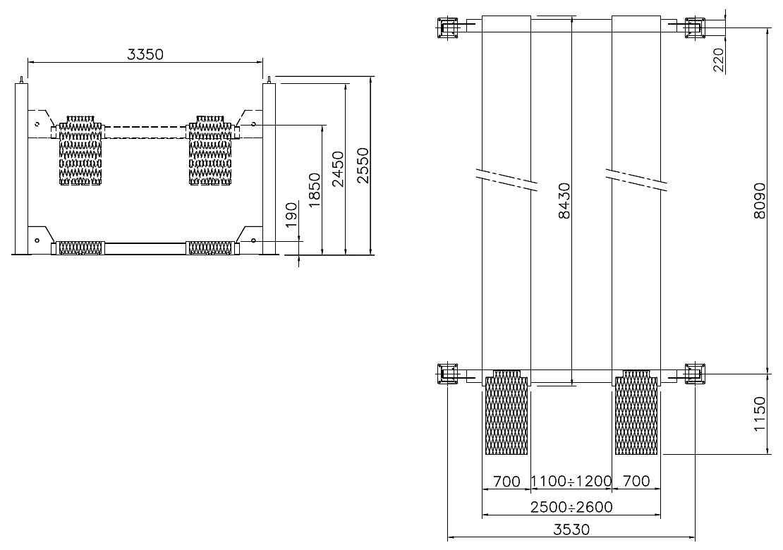 Схема четырехстоечного подъемника Werther 412 (OMA 529)
