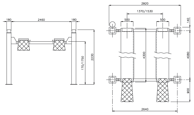 Схема четырехстоечного подъемника Werther 436 (OMA 521)