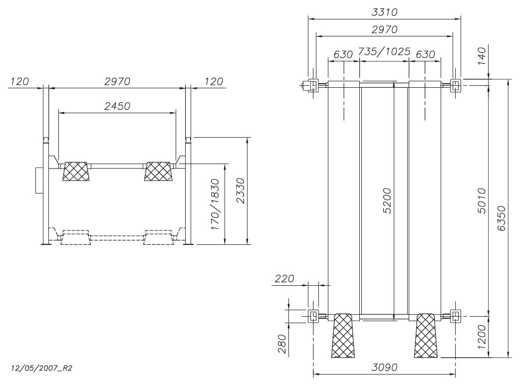 Схема четырехстоечного подъемника Werther 450N/5 (OMA 526C)