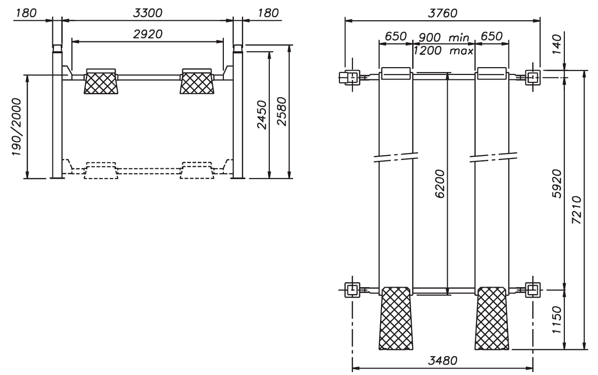 Схема четырехстоечного подъемника Werther 480 (OMA 528C)