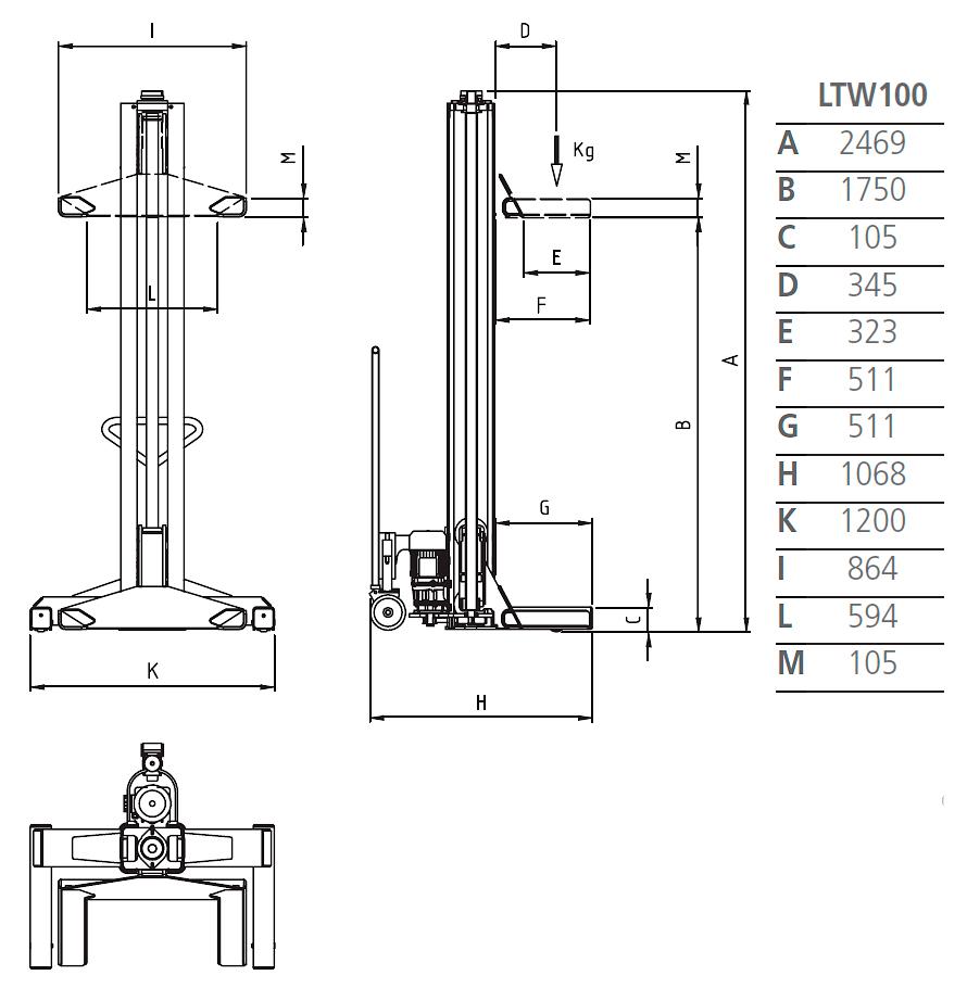 Схема подкатной колонны Werther LTW100 4C+4
