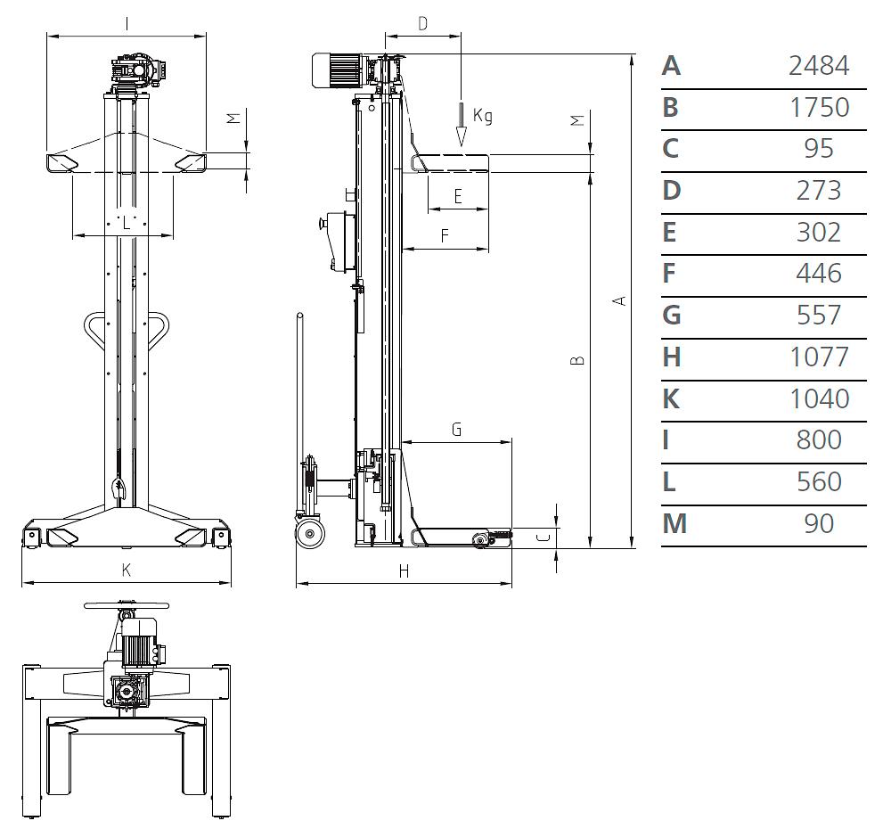 Схема подкатной колонны Werther LTW65 4C+4