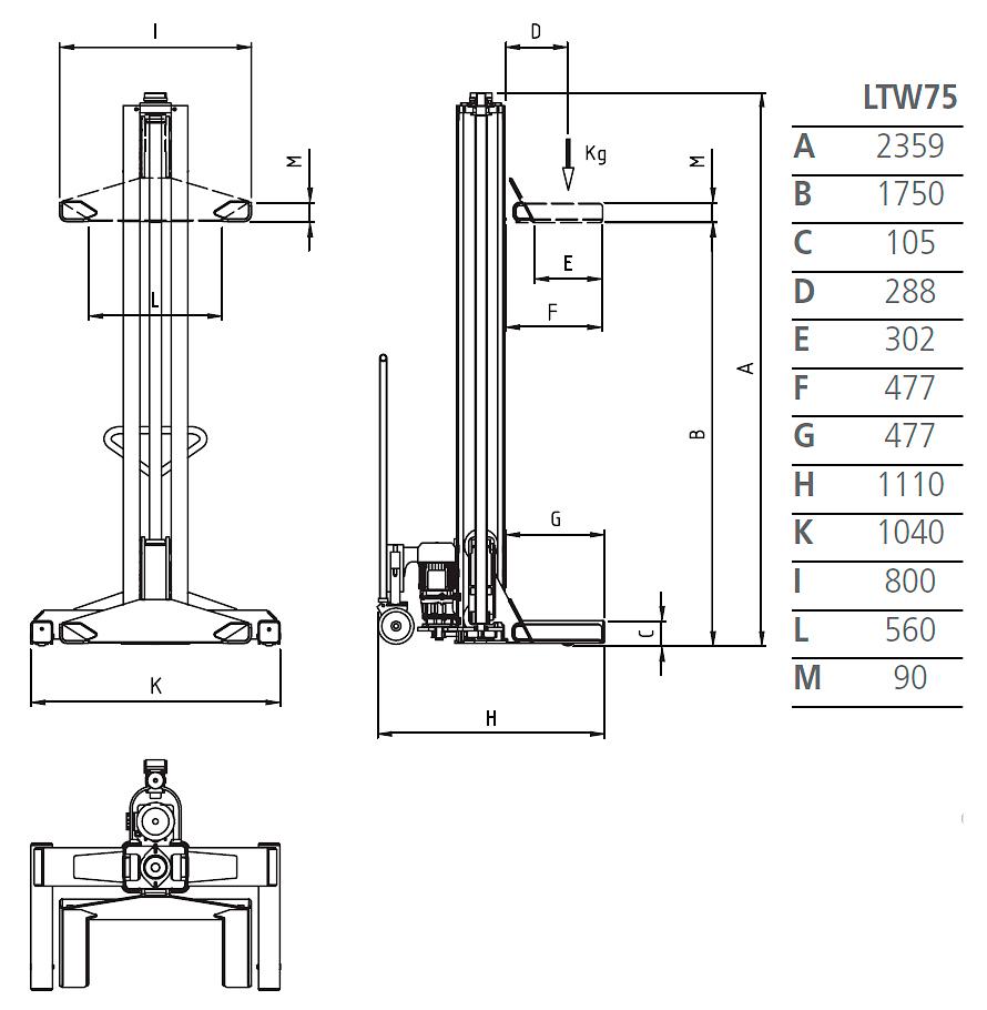 Схема подкатной колонны Werther LTW75 6C+6