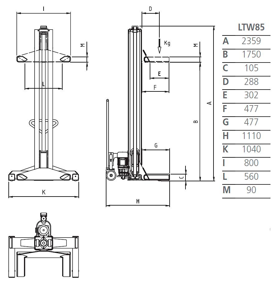 Схема подкатной колонны Werther LTW85 4C+4