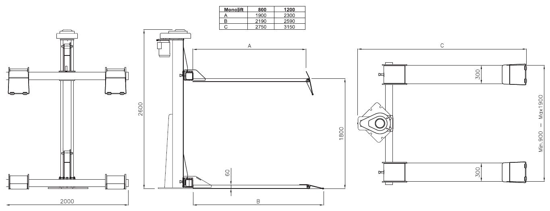 Схема одностоечного подъемника Werther MONOLIFT 1200 (OMA 478C)