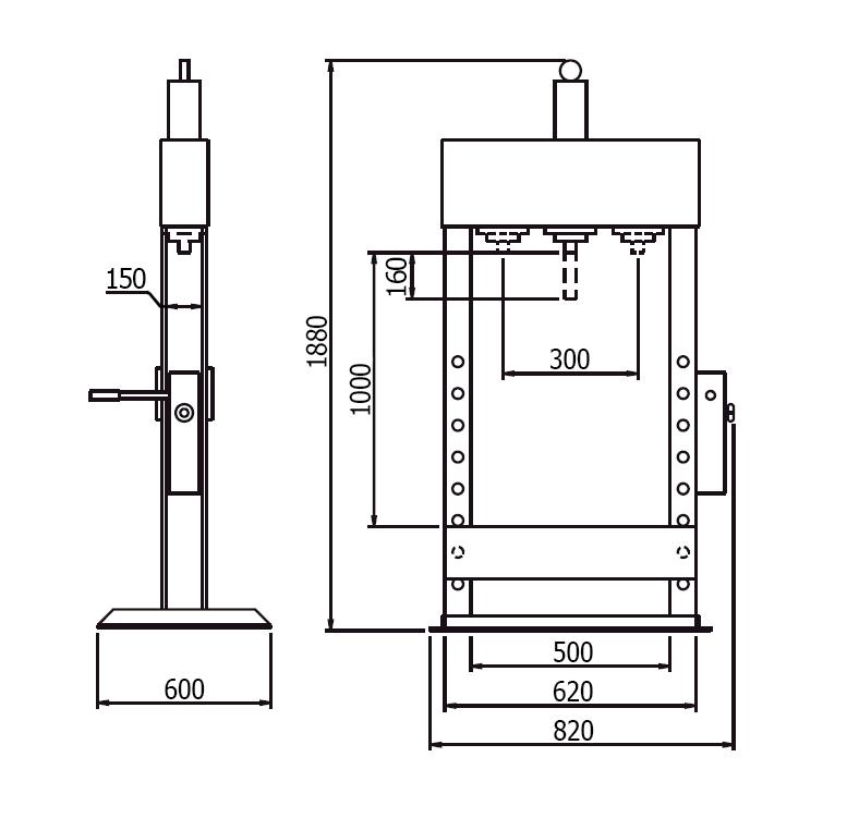 Схема (чертеж) гидравлического пресса Werther PR10/PM (OMA 651B)