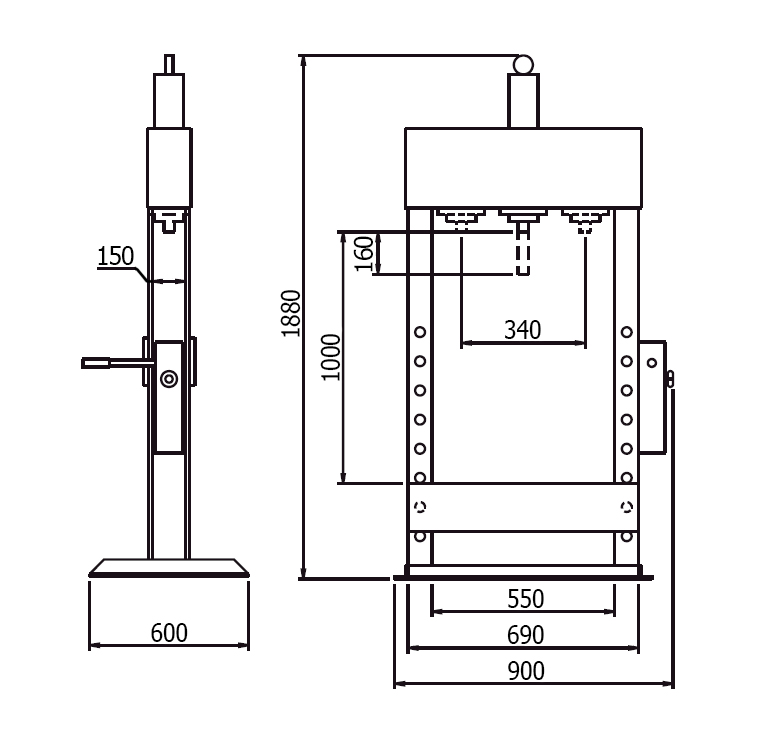 Схема (чертеж) гидравлического пресса Werther PR15/PM (OMA 653B)
