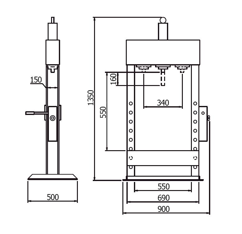 15. Схема (чертеж) гидравлического пресса Werther PR15B/PM (OMA 652B).  V-образные опоры.