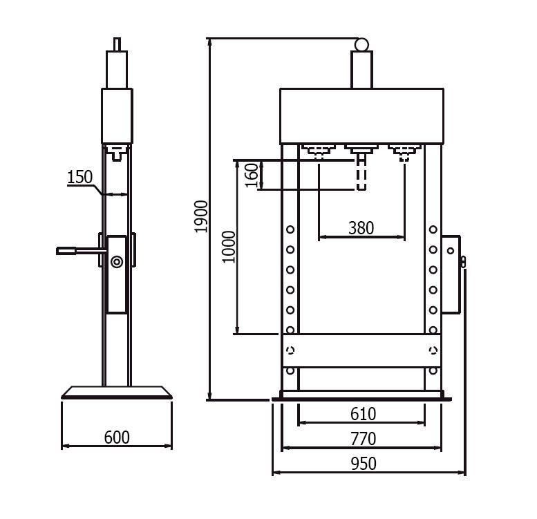 Схема (чертеж) гидравлического пресса Werther PR20/PM (OMA 654B)