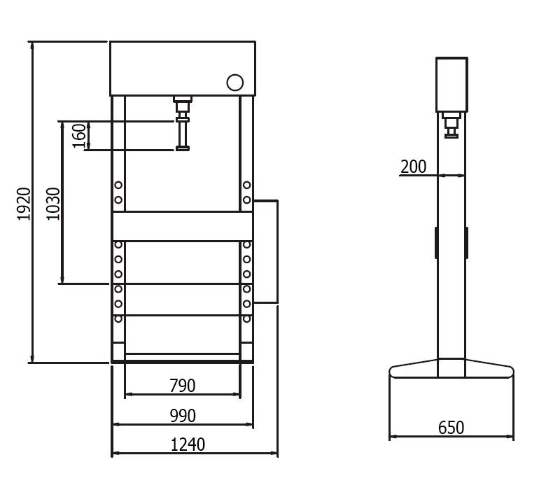 Схема (чертеж) гидравлического пресса Werther PR30/PMS (OMA 656S).  V-образные опоры.