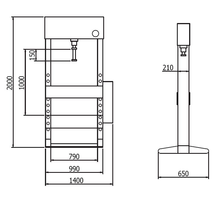 Схема (чертеж) гидравлического пресса Werther PR50/PMS (OMA 658S)