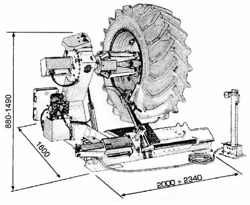 Схема (чертеж) шиномонтажного станка Werther Titanium 2000 (OMA 673AT)