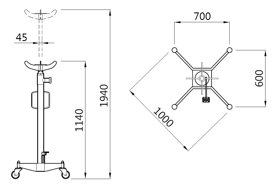 Схема (чертеж) трансмиссионной стойки Werther W111 (OMA 608)