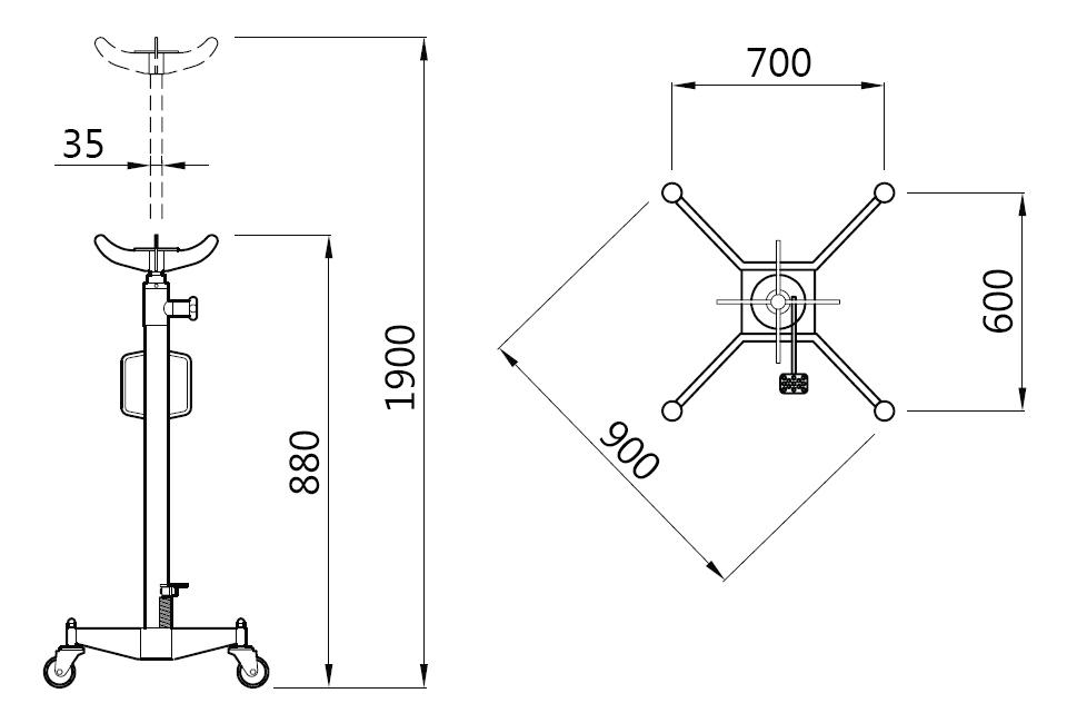 Схема (чертеж) трансмиссионной стойки Werther W112 (OMA 611)