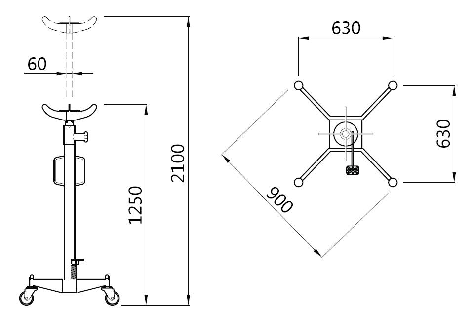 Схема (чертеж) трансмиссионной стойки Werther W160 (OMA 609)