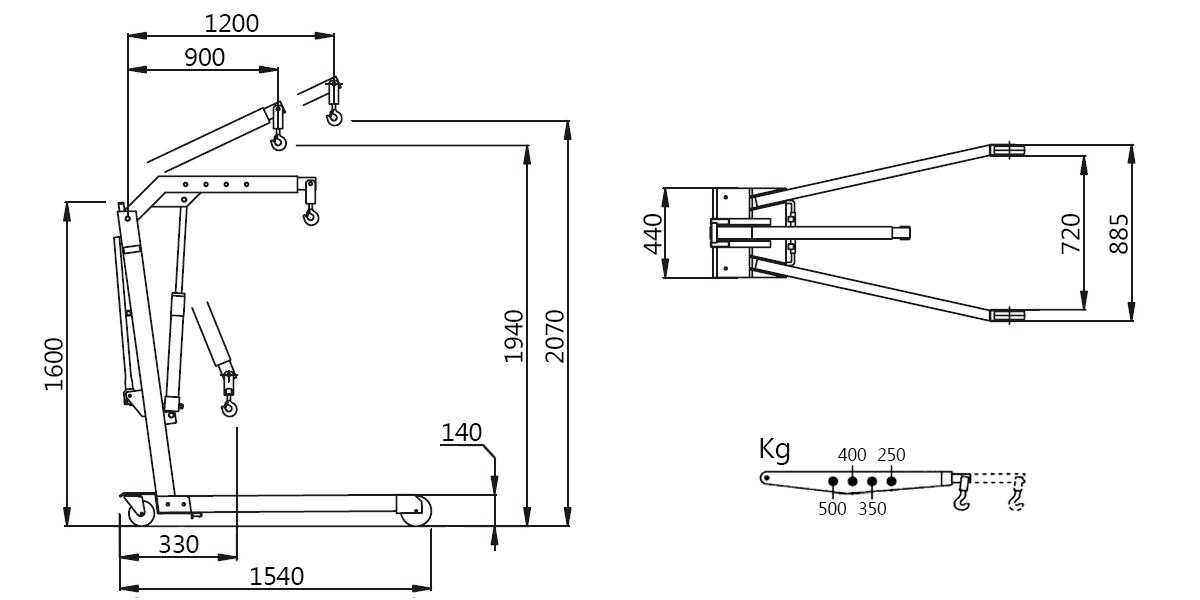 Схема складного гидравлического крана Werther W107SE (OMA 586)