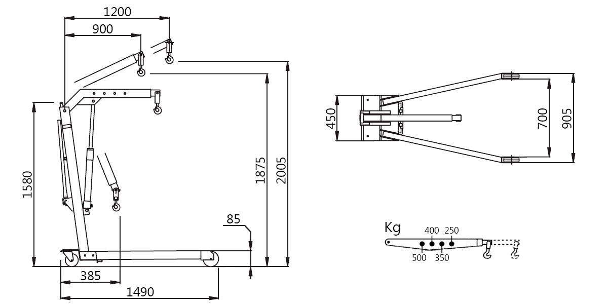 Схема складного гидравлического крана Werther W107LP (OMA 589B)