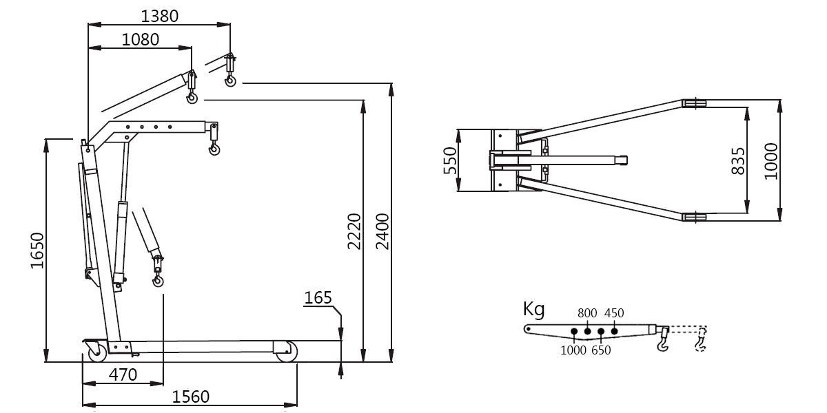 Схема складного гидравлического крана Werther W108SE (OMA 587)