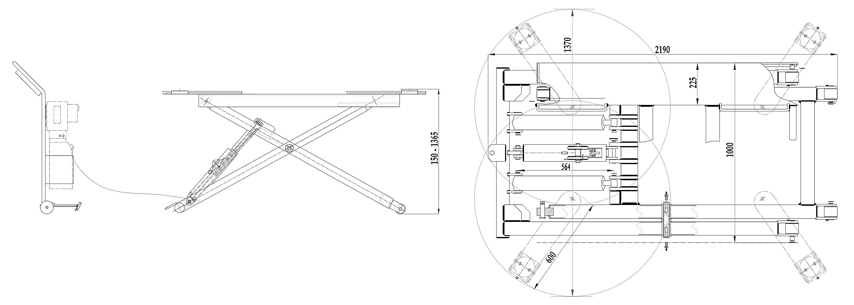 Схема мобильного ножничного подъемника Trommelberg TST27C