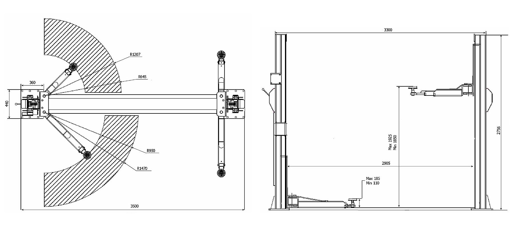 Схема двухстоечного подъемника Trommelberg TST40C