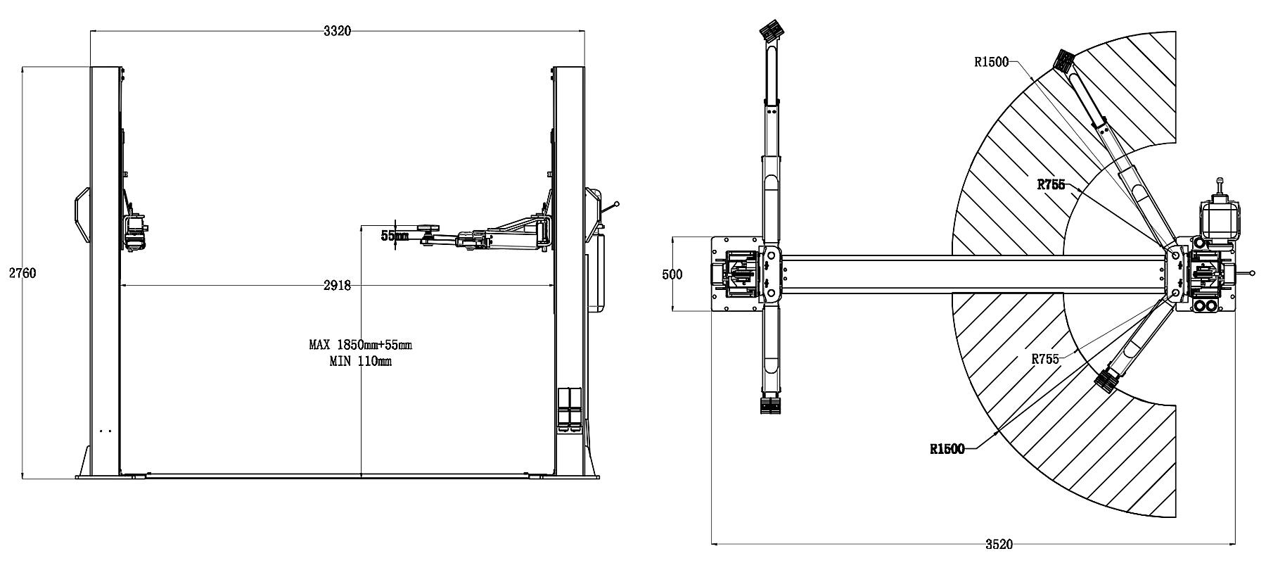 Схема двухстоечного подъемника Trommelberg TST55W
