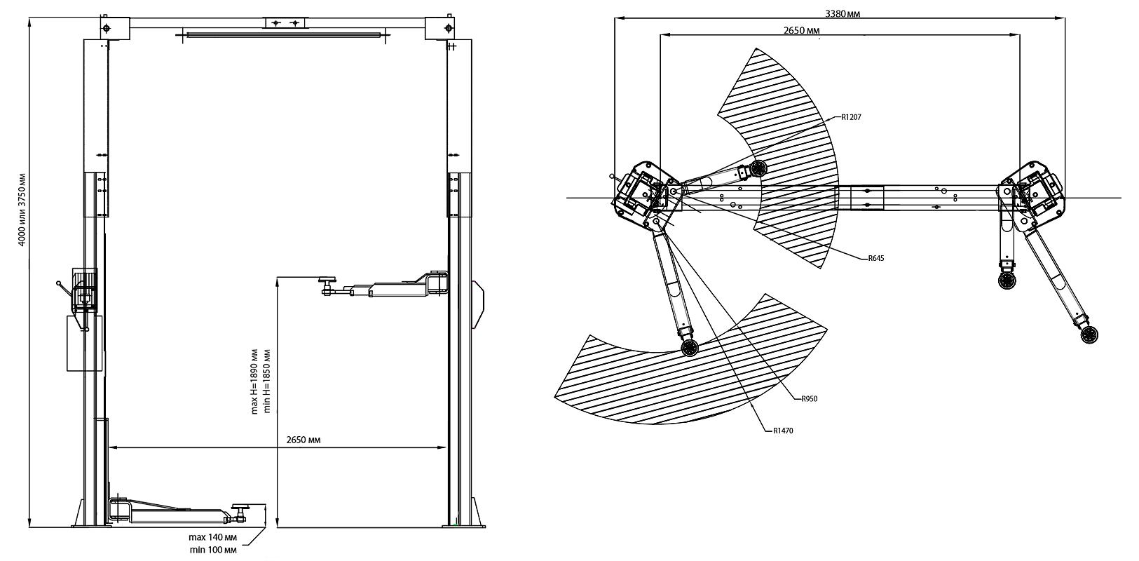 Схема двухстоечного подъемника Trommelberg TST45ASH