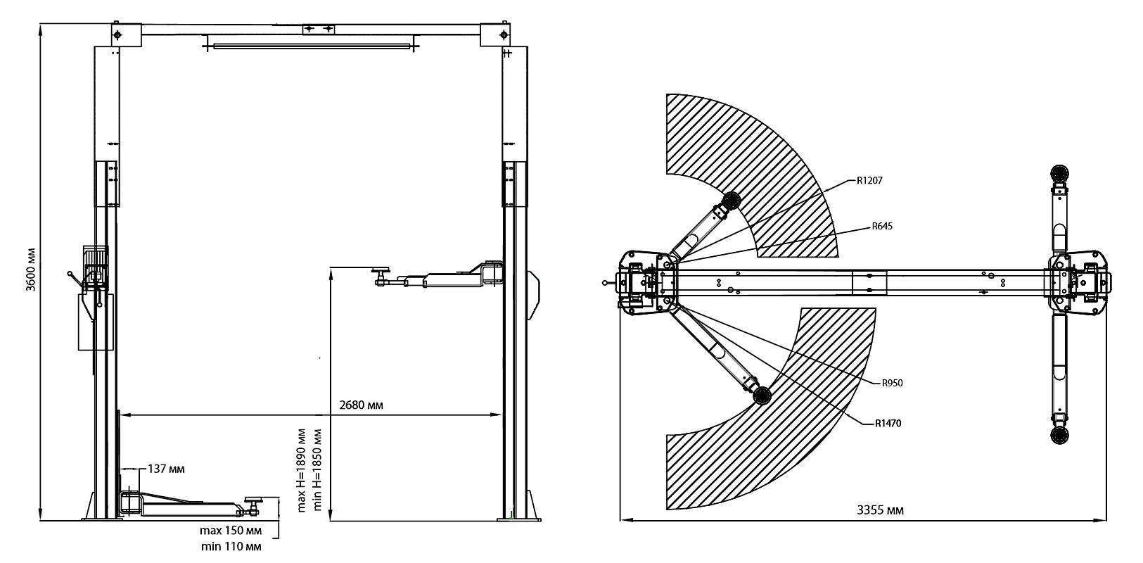 Схема двухстоечного подъемника Trommelberg TST45SW
