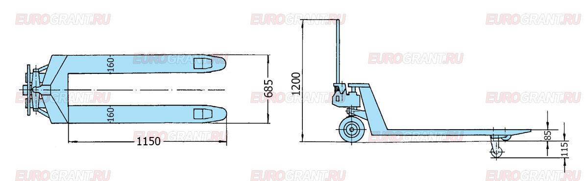 Схема гидравлической тележки PFAFF SILVERLINE HU 25-115 BTS