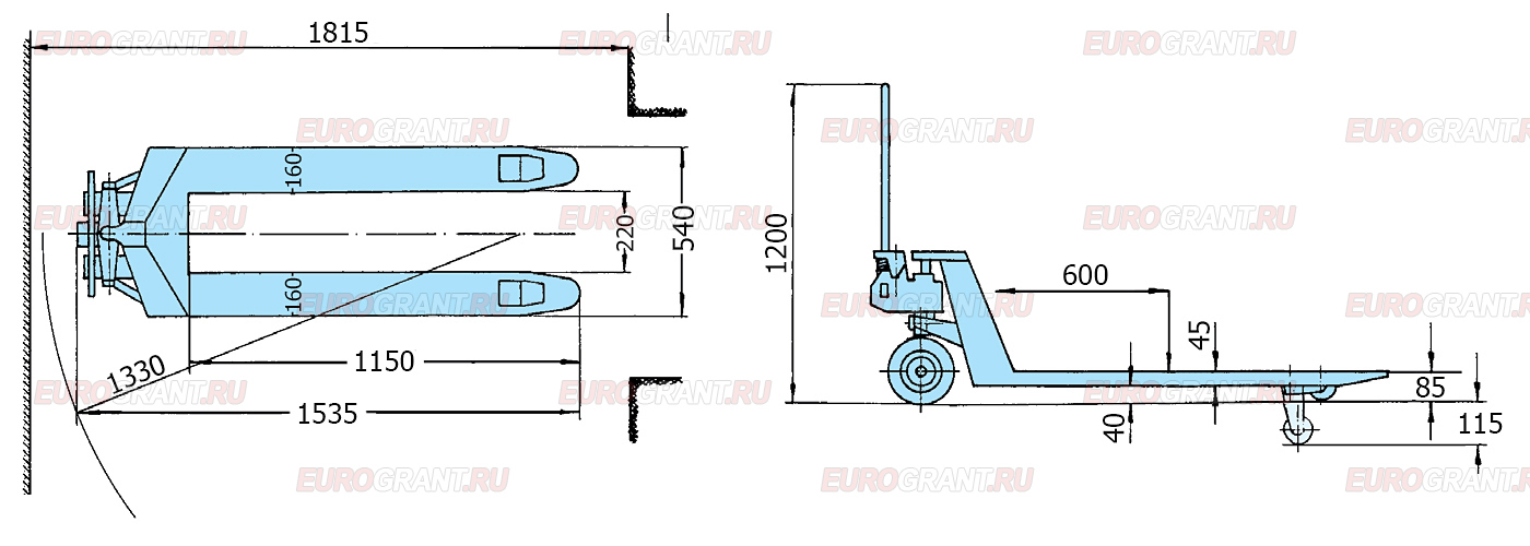 Схема гидравлической тележки PFAFF SILVERLINE HU 25-115 TS